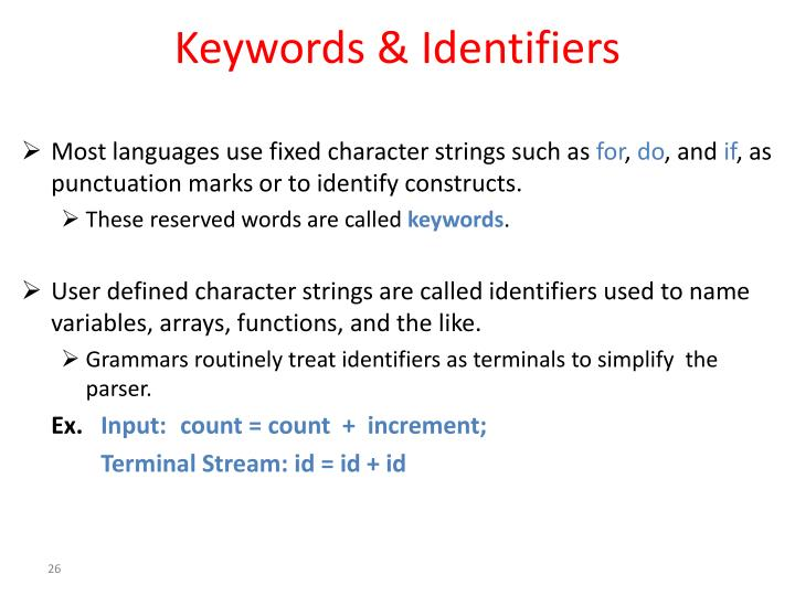 Keywords & Identifiers