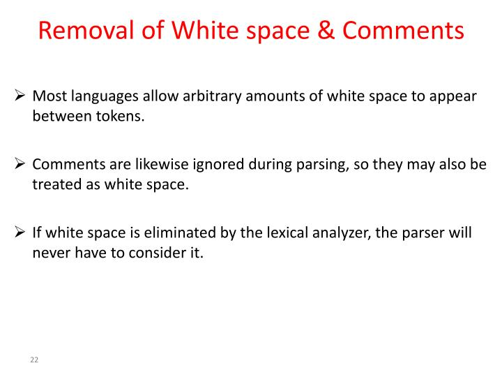 Removal of White space & Comments