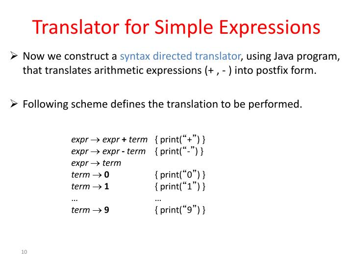 Translator for Simple Expressions