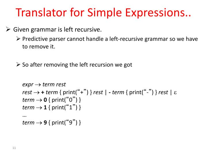 Translator for Simple Expressions..
