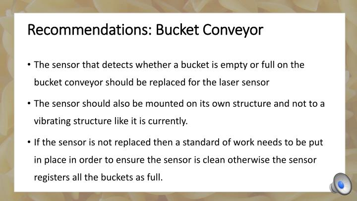 Recommendations: Bucket Conveyor