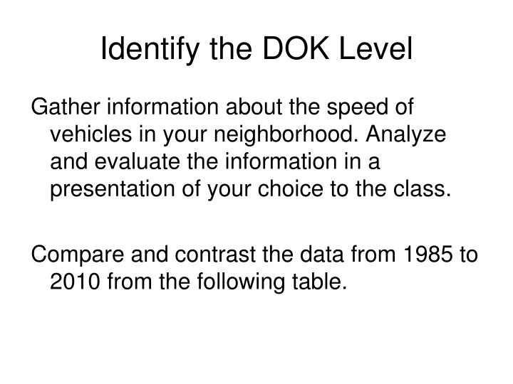 Identify the DOK Level