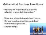 mathematical practices take home