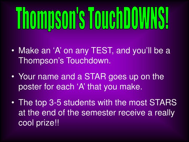 Thompson's TouchDOWNS!