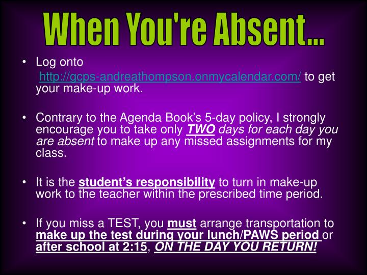 When You're Absent...