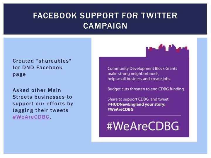 Facebook support for Twitter campaign