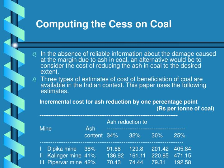 Computing the Cess on Coal
