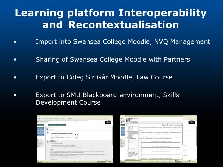 Learning platform Interoperability and Recontextualisation