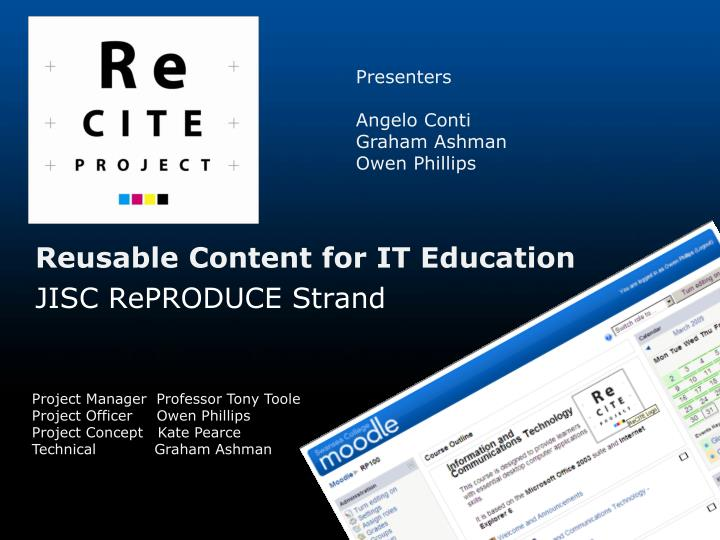 Reusable content for it education jisc reproduce strand