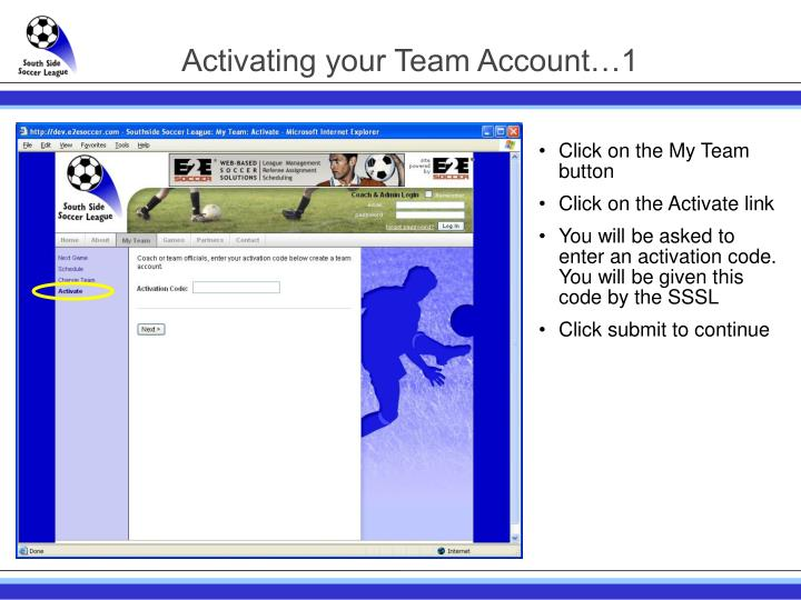 Activating your Team Account…1