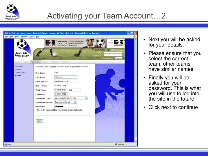Activating your Team Account…2