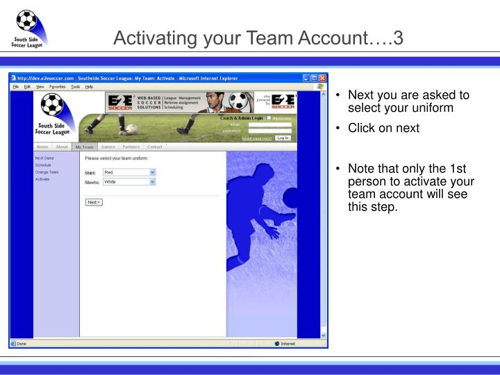 Activating your Team Account….3