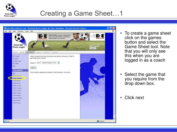 Creating a Game Sheet…1