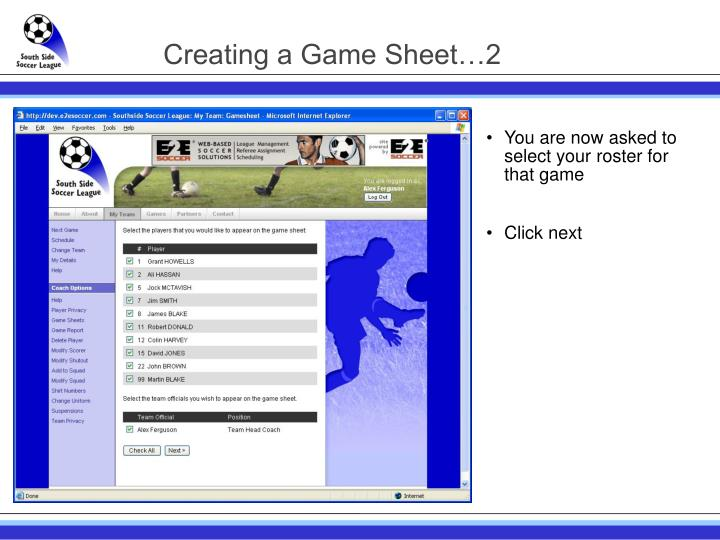 Creating a Game Sheet…2