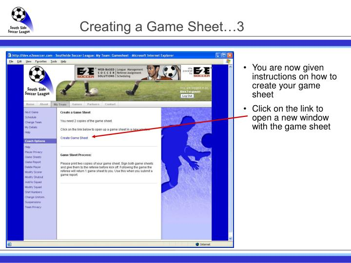 Creating a Game Sheet…3