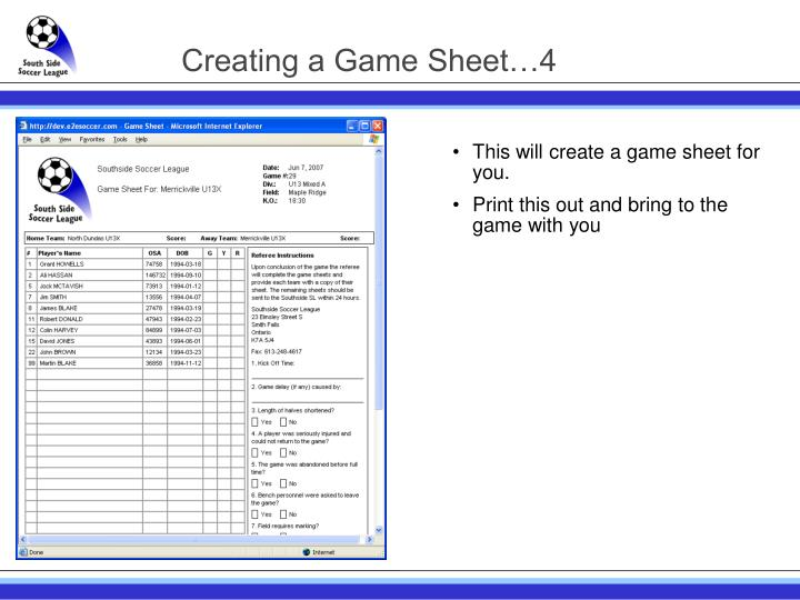 Creating a Game Sheet…4