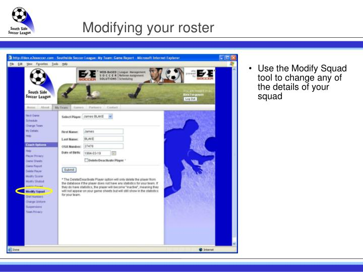 Modifying your roster