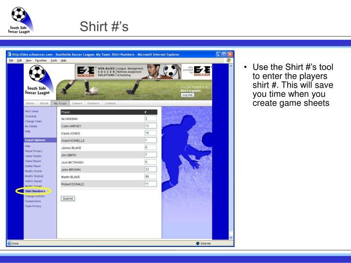 Shirt #'s