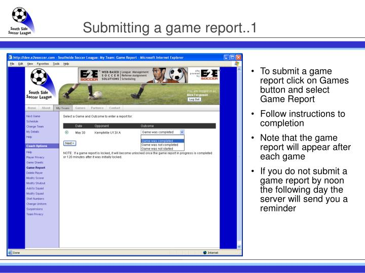 Submitting a game report..1