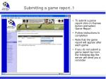 submitting a game report 1