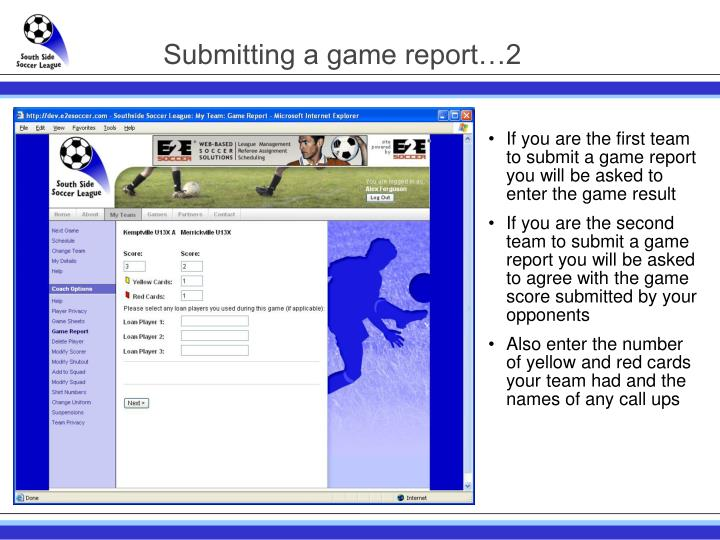 Submitting a game report…2