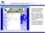 submitting a game report 2
