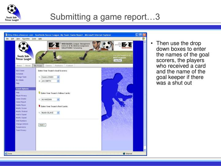 Submitting a game report…3