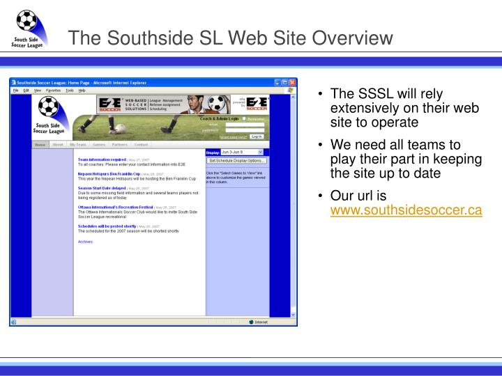 The southside sl web site overview
