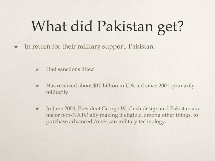 What did Pakistan get?