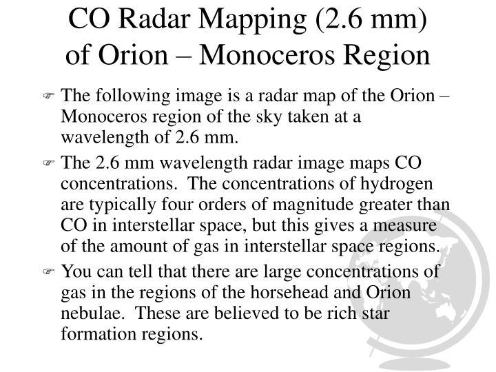 CO Radar Mapping (2.6 mm)