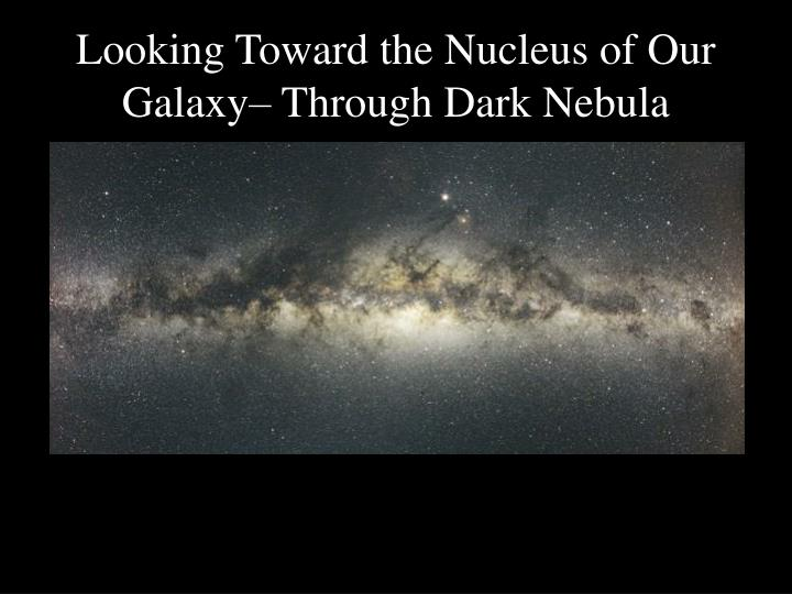 Looking Toward the Nucleus of Our Galaxy– Through Dark Nebula