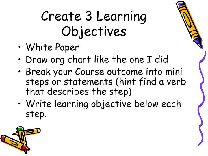 Create 3 Learning Objectives