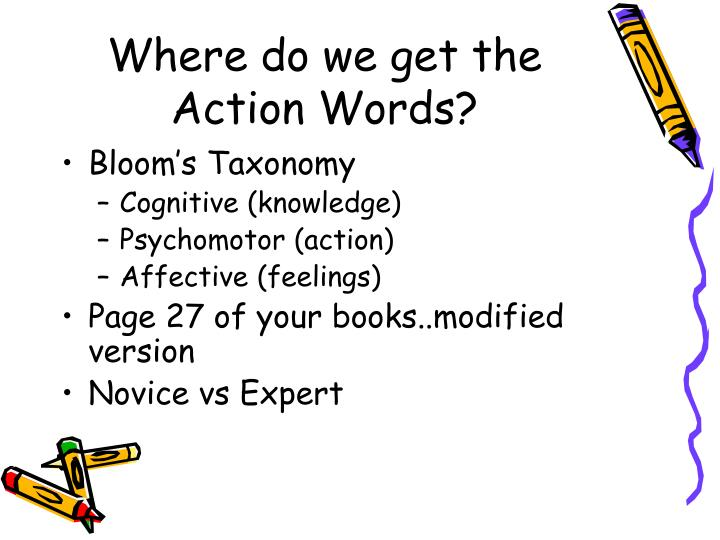 Where do we get the Action Words?