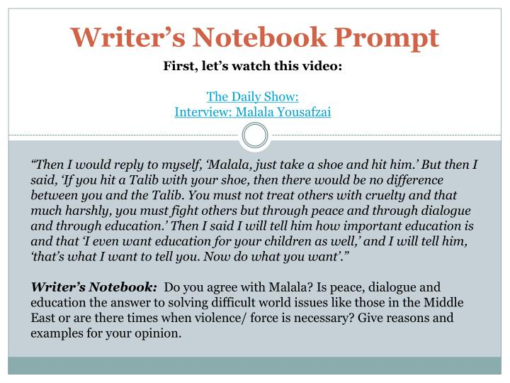 Writer s notebook prompt