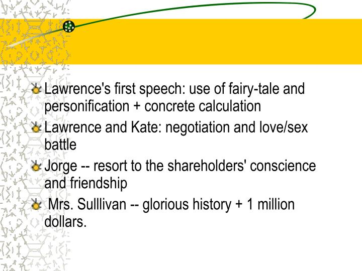 Lawrence's first speech: use of fairy-tale and personification + concrete calculation
