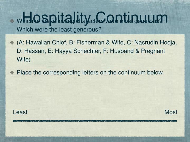Hospitality Continuum