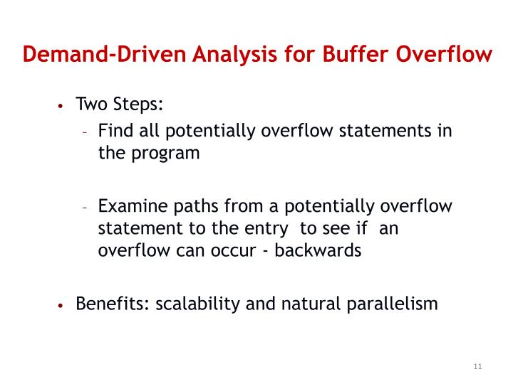 Demand-Driven Analysis for Buffer Overflow