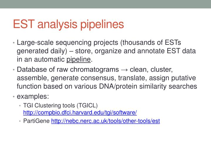 EST analysis pipelines