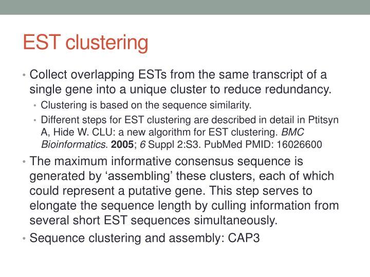 EST clustering