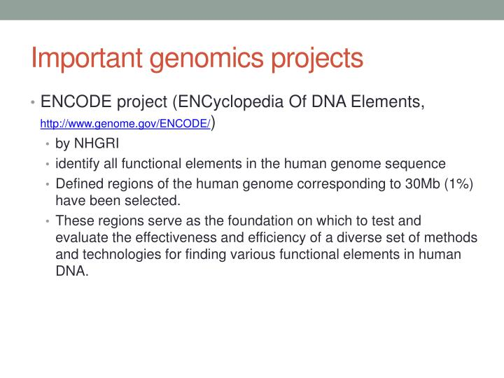 Important genomics projects