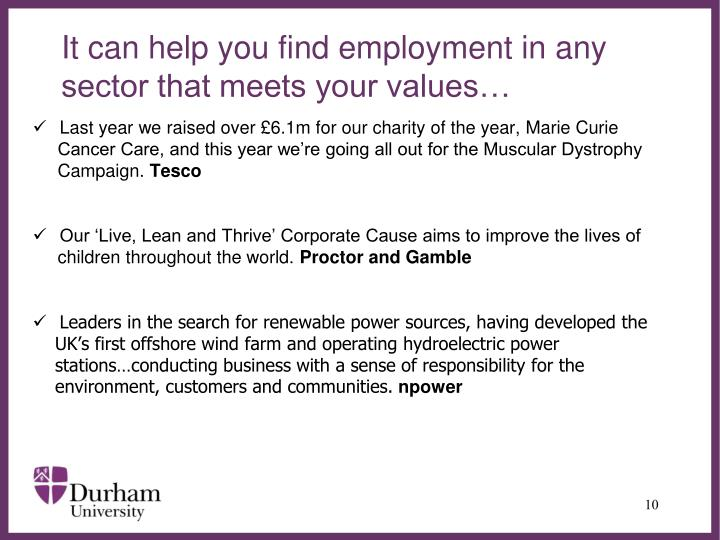 It can help you find employment in any sector that meets your values…