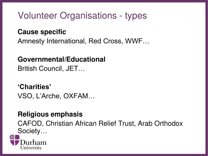 Volunteer Organisations - types