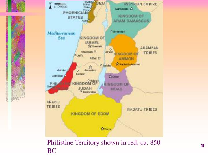 Philistine Territory shown in red, ca. 850 BC