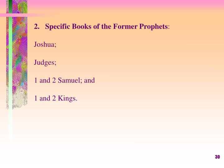 Specific Books of the Former Prophets
