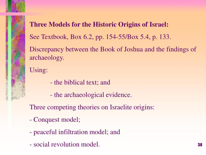 Three Models for the Historic Origins of Israel: