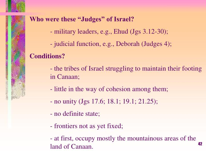 "Who were these ""Judges"" of Israel?"