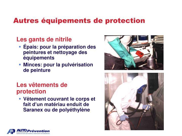 Autres équipements de protection