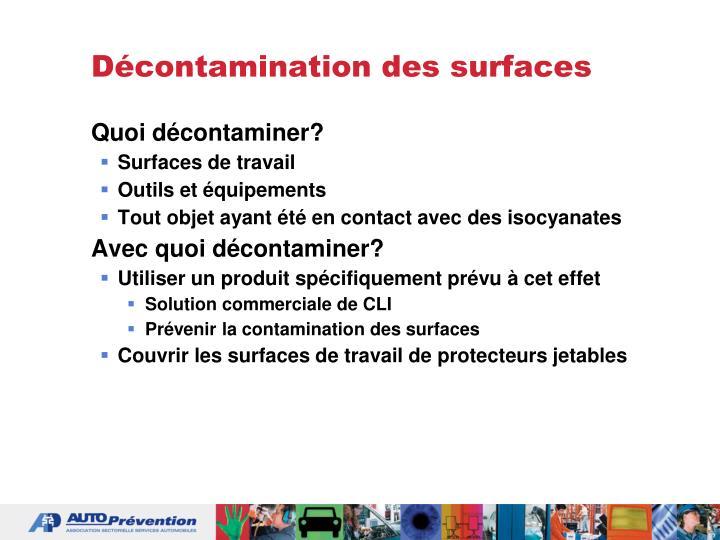 Décontamination des surfaces