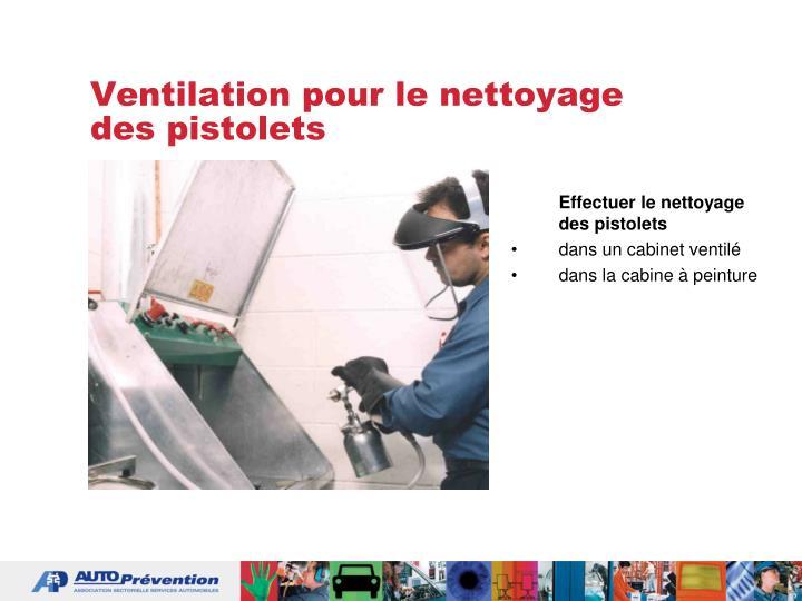 Ventilation pour le nettoyage des pistolets