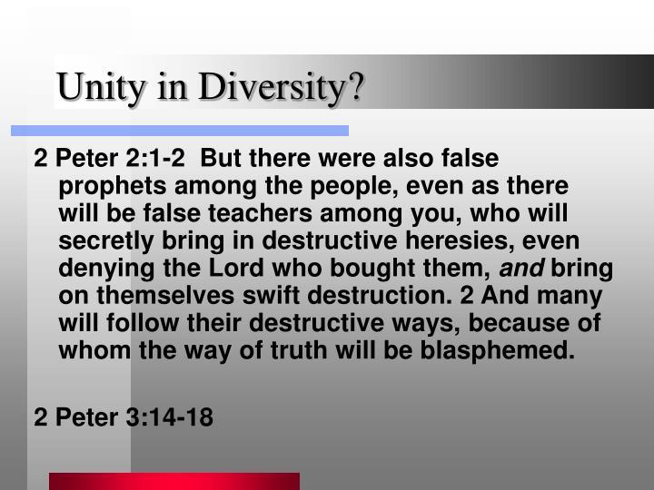 Unity in Diversity?